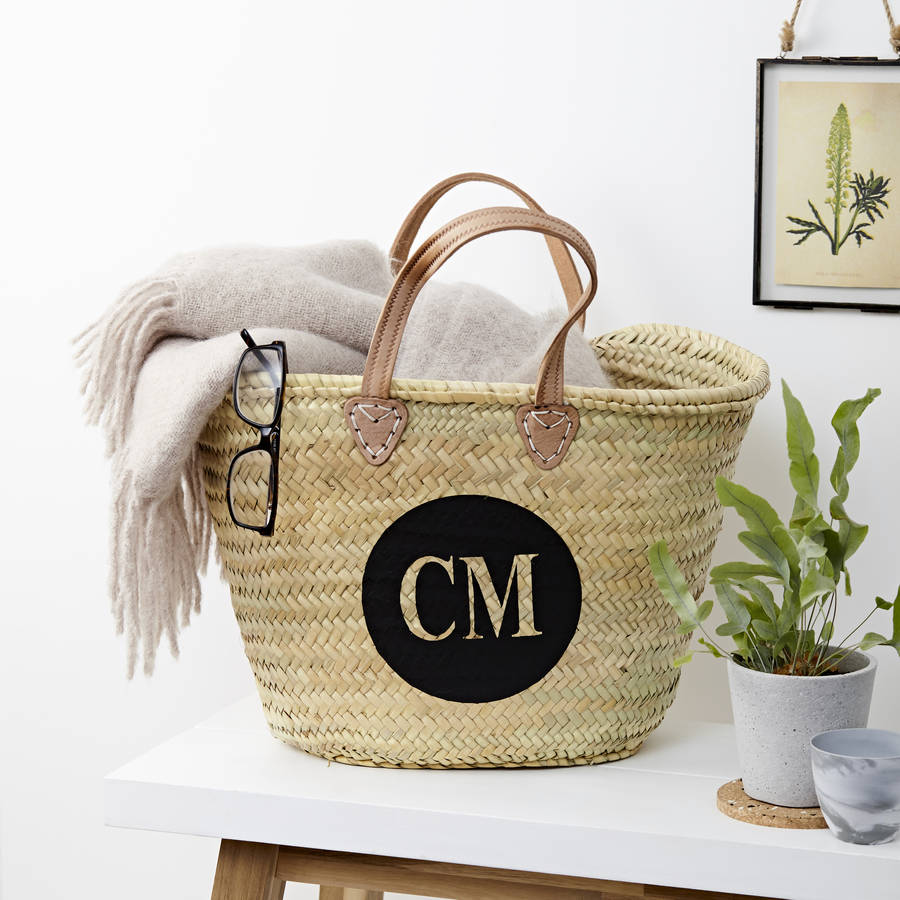 personalised monogrammed straw bag with leather handles by ...