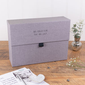 Personalised Wedding Planner Box Grey Linen