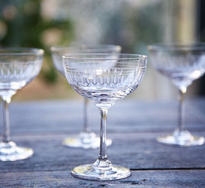 Set Of Six Oval Art Deco Style Champagne Saucers - glassware