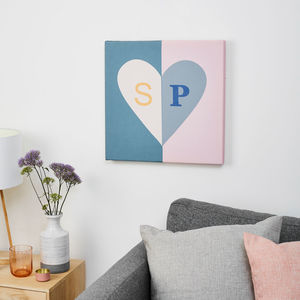 Personalised Love Heart Initials Canvas Wedding Print
