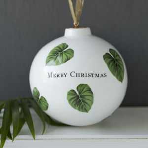 Personalised Botanical Leaf Print Bone China Bauble - decorative accessories