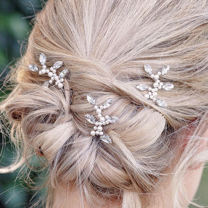 Set Of Three Diamante And Pearl Bridal Pins - tiaras & hair combs