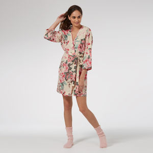 Short Cotton Robe In 'Cutting Garden' Floral - lingerie & nightwear