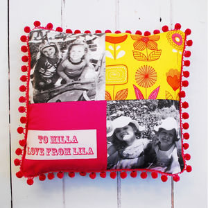 Personalised Pom Pom Photo Cushion - cushions