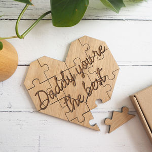 Personalised Heart Shape Wooden Jigsaw Puzzle