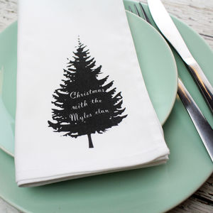 Personalised Black Silhouette Tree Napkin