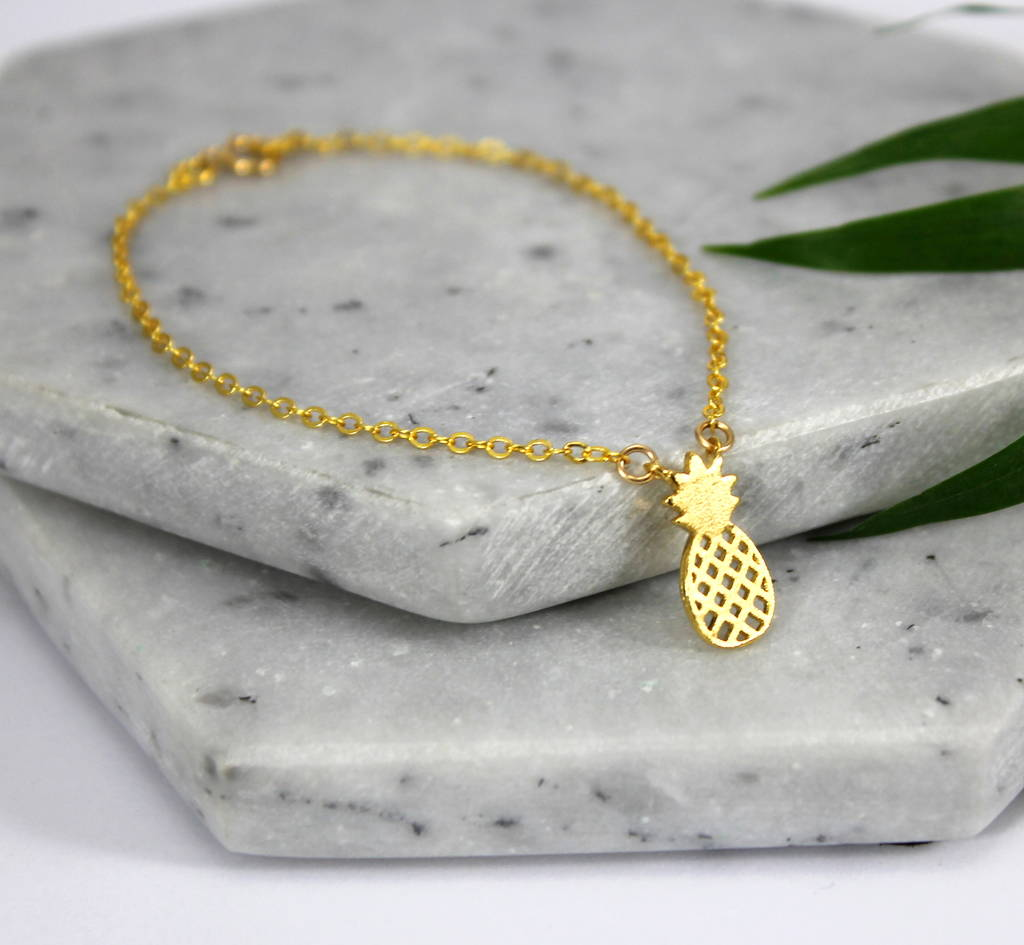 Children's Sterling Silver And Gold Pineapple Bracelet