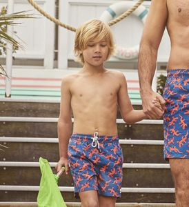 Boy's Ink Blue Lizards Swimming Trunks