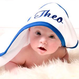 Personalised Hooded Baby Towel With Royal Blue Trim - gifts for children