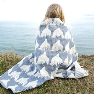 House Of Rym Bird Pattern Woven Cotton Throw - cushions