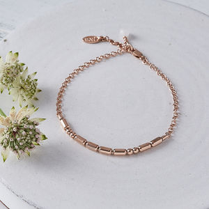 Personalised Rose Gold Morse Code Bracelet