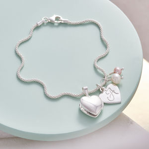 Birthstone Bracelet With Tiny Heart Locket - wedding jewellery