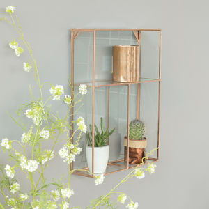 Glass Hanging Shelf - rose gold jewellery