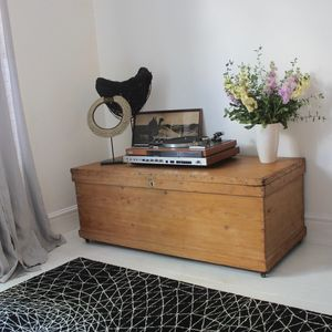 Ciara Vintage Reclaimed Pine 1920s Pine Bedding Box - chests & blanket boxes