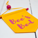 Personalised Pet Banner Flag Pink And Yellow