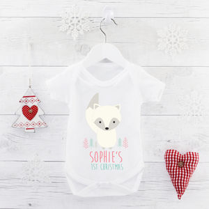 Personalised First Christmas Arctic Fox Bodysuit - babygrows