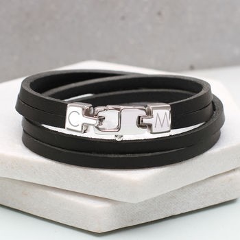 Sterling Silver Men's Personalised Clasp Bracelet