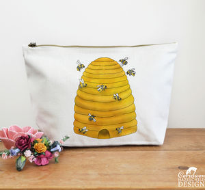 Bee Hive Large Canvas Wash Bag