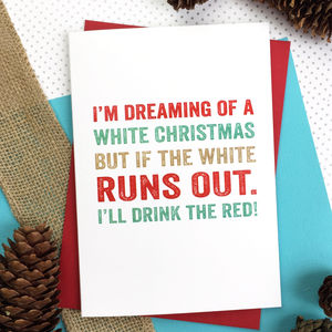 Merry Christmas I'm Dreaming Wine Greetings Card - christmas cards: packs