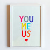 'You Me Us' Felt Letters Framed Art Print - anniversary gifts