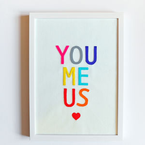 'You Me Us' Felt Letters Framed Art Print - home