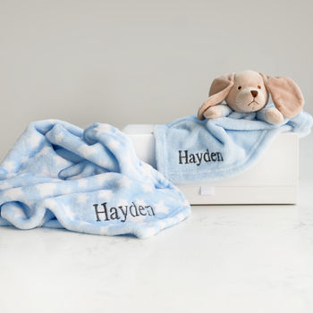 Personalised Baby Blanket And Puppy Comforter Gift Set