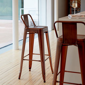 A Copper Industrial Bar Stool - living room