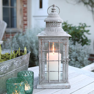 Greywashed Swedish Metal Lantern - lighting