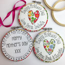 Mothers Day Personalised Embroidered Hoop Card
