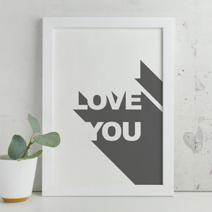 Contemporary Romantic 'I Love You' 3D Wording Print - posters & prints