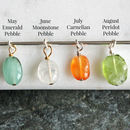 may chrysoprase, june moonstone, july carnelian, august peridot birthstone pebbles
