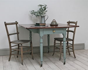 Distressed Victorian Drop Leaf Table - furniture
