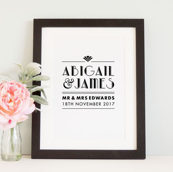 Personalised Art Deco Newlywed Wedding Print