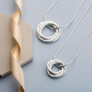 40th Birthday Four Interlinked Rings Silver Necklace - for her