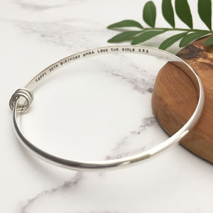 30th Birthday Silver Bangle - bracelets & bangles