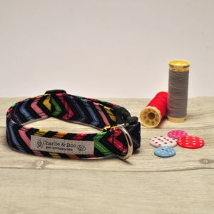 Multi Colour Zig Zag Dog Collar For Boy Or Girl Dogs - pet collars