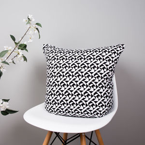 Monochrome Organic Cotton Cushion - summer sale