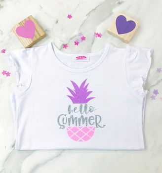 Girls 'Hello Summer' Pineapple Tshirt