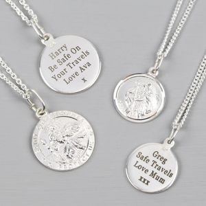 Personalised Sterling Silver St Christopher Necklace - winter sale
