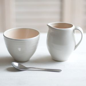 Cafe Stoneware Cream And Sugar Set - sugar bowls & cream jugs