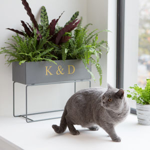 Personalised Grey Metal Standing Planter - 10th anniversary: tin