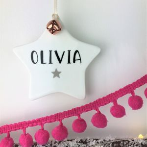 Ceramic Star Christmas Decoration With Jingle Bell