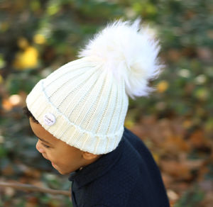 White Beanie Hat With Removable Faux Fur Pom Pom
