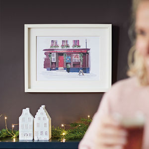 Personalised Shop And Pub Illustrated Portrait Print - gifts for him