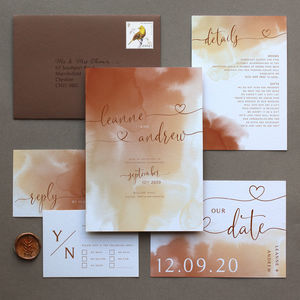 Warm Neutrals Watercolour Wedding Invitation Suite