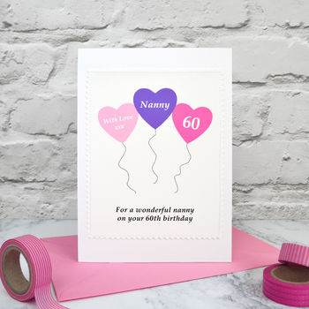 'Heart Balloons' Personalised Age Birthday Card