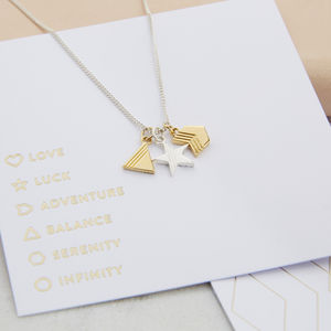 Personalised Geometric Charm Necklace - lucky charm jewellery
