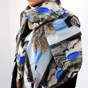Mousehole Harbour Silk Scarf - hats, scarves & gloves