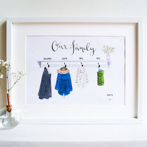 Personalised Illustrated Family Raincoats Art Print - gifts for mothers