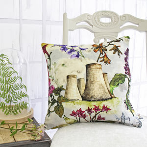 Flowers And Cooling Towers Cushion - patterned cushions
